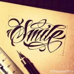 """Smile"" hand lettering by theosone"