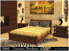 A set of furniture and decor 'Zanzara' to design a bedroom in ethnic African style.  Found in TSR Category 'Sims 4 Adult Bedroom Sets'