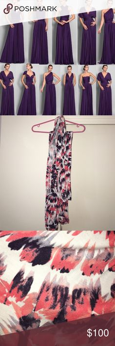 """Tart convertible maxi dress Only wore once and dry cleaned! In excellent condition! Tart's multi-way """"infinity"""" maxi dress. Multiple ways to wear! Fun printed style in shades of coral, purple, and white. Tart Dresses Maxi"""