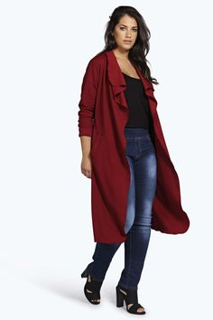 Plus Size Wrap Front Trench Coat