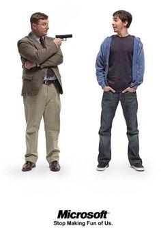 """""""Stop making fun of us""""  Pc versus Mac series of advertisings that last for years"""