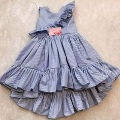 Girls ruffle sleeve stripe sundress Model Number: Baby Girl Dresses Material: Cotton Style: Casual Decoration: Draped Dresses Length: Mid-Calf Collar: O-neck Built-in Bra: No Fit: Fits true to size, take your normal size Baby Girl Frocks, Frocks For Girls, Kids Outfits Girls, Little Girl Dresses, Girl Outfits, Girls Dresses, Baby Dresses, Baby Girl Gowns, Sleeveless Dresses
