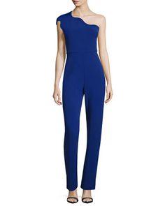 One-Shoulder+Slim-Leg+Jumpsuit,+Indigo+by+Cushnie+et+Ochs+at+Neiman+Marcus.