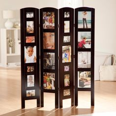 Memories Photo Frame Room Divider - Rosewood 4 Panel - Approximate Picture Opening Sizes:3.5 x 4.5 inches: 4 openings4 x 6 inches: 4 openings5 x 7 inches: 4 openings8 x 10 inches: 10 openings The Memories ...