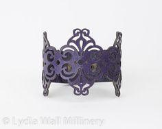 """Laser Cut Leather Bracelet """"Spirals"""" in Dark Purple"""