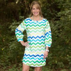 Lime Turquoise Chevron Tunic/Dress