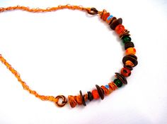Copper spacers pumpkin orange tomato red by CharmedBaublesNBeads, $24.00   sold