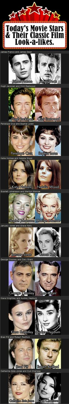 old movie stars photos | Today's Film Stars with Their Classic Movie Star Look-a-likes ...