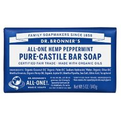 Dr. Bronner's All-One Hemp Pure-Castile Soap Bar Peppermint - 5 oz.