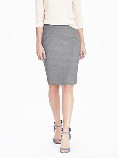 Lightweight wool pencil skirt | grey | Banana Republic