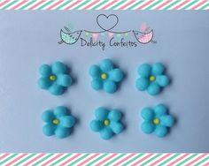 Confeito aplique enfeite Flores açúcar para doces, docinhos, cupcakes, bolos, alfajores, bem nascidos.. Delicity Confeitos Arte em Açúcar e Biscuit