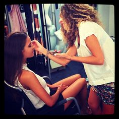 Jayde getting her make-up done by #FilomenaNatoli as we get ready to start shooting web images for the #JETS Summer Collection 13/14!