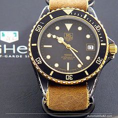 TAG Heuer 1000 Submariner Man Black Coral on a Mustard leather NATO band 980.029B #