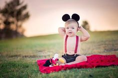 Little Mickey Mouse theme Birthday Photo-shoot. Cute black diaper cover, Mickey ears and Mickey Mouse overalls. Birthday's with SweetOrangePhotography.com