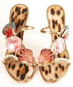 ROBERTO CAVALLI HEELS //  embellished with jeweled enamel seashells and pearls