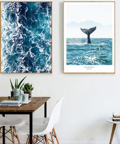 Whale Tail Posters and Prints Seascape Nordic Ocean Wall Art Ocean Waves Canvas Painting Modern Pictures for Living Room Decor Decoration, Art Decor, Room Decor, Ocean Room, Dorm Art, Nordic Art, Living Room Art, Living Room Canvas, Living Room Pictures
