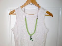 green necklace rope necklace boho necklace by TheKnittedNecklace