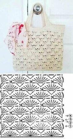 Knit (or crochet) a bag. Would be nice for a reserved weekend or a vacation bag. - Fashionable bags - Escolha e copy: Modelos de Bolsa summer bag ⋆ De Frente Para O Mar. Learn to crochet Christmas tr - Crochet Market Bag, Crochet Handbags, Crochet Purses, Knit Or Crochet, Free Crochet, Crochet Summer, Crochet Diagram, Crochet Chart, Crochet Stitches Patterns
