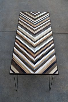 Chevron Desk with Hairpin legs - Wood Table from Reclaimed Wood, via Etsy.