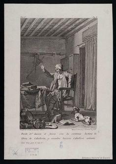 [Don Quijote leyendo libros de caballería en su estudio]. Salvador Carmona, Manuel 1734-1820 — Grabado — 1781