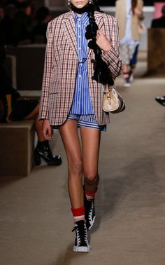 Striped Cotton-Poplin Shirt by Prada Prada Outfits, Fashion Outfits, Girl Outfits, Plaid Blazer, Women Wear, Style Inspiration, Fashion Design, Clothes, Cute Casual Outfits