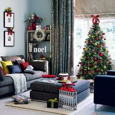 Pretty Christmas tree and decorations