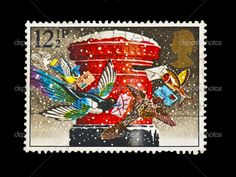 Vintage Stamp: birds mailing their Christmas cards out!