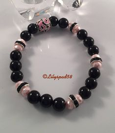 Black Onyx Pink Glass Pearls Stretch Bead Bracelet Breast