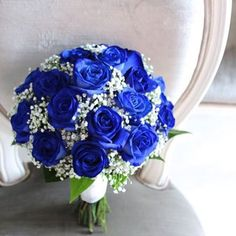 Royal Blue and Metallic Silver Winter Wedding Color Ideas: White bridal gown, Roya blue bouquets with white or silver silk flowers, royal blue bridesmaid dresses, Silver grey groom suit with royal blue tie… Silver Wedding Colours, Silver Winter Wedding, Winter Wedding Colors, Blue Wedding Flowers, Bridal Flowers, Flower Bouquet Wedding, Winter Flowers, Wedding Blue, Trendy Wedding