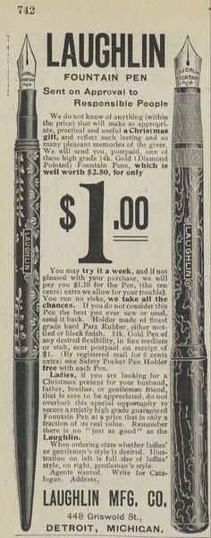 1901 Laughlin Fountain Pen Vintage Ad 12071901LD