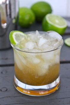 Winter Recipe: The Nor'easter Cocktail - Bourbon, lime juice, ginger beer & maple syrup - I'm in! over ice in a shaker: 2 ounces bourbon ounce lime juice ounce maple syrup Strain, pour into a glass & Top w/ Ginger Beer Bourbon Cocktails, Cocktail Drinks, Cocktail Recipes, Cocktail Shaker, Bourbon Drinks Winter, Smoked Cocktails, Sweet Cocktails, Cocktail Desserts, Cocktail Ideas