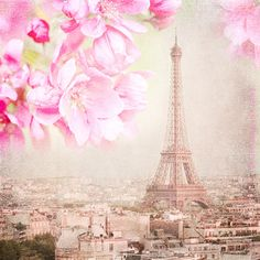 Paris Photograph - Paris Spring Pink -  Eiffel Tower with Cherry Blossoms, Urban Home Decor, Wall Art. $25.00, via Etsy.