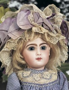 """French Bisque Bebe Jumeau, Size 8~~~MARKS: 8 (and artist checkmarks, on head). COMMENTS: Emile Jumeau, circa 1890. VALUE POINTS: Very beautiful painting of eyes and lips enhance the fine creamy bisque, original body and body finish, lavender silk dress with lace trim, matching bonnet, original Jumeau shoes signed """"8 Paris Depose"""" with bee symbol."""