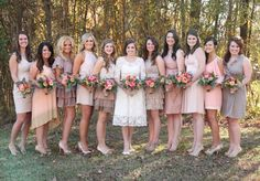 Dashboard Diary: Our Wedding {The Bridesmaids}  Wish I could find the original pin I was inspired by. I'd want all floor length dresses, but surprisingly I love the colors and mismatched style.