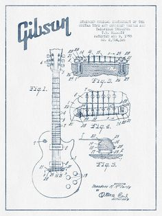 Mccarty Gibson Les Paul Guitar Patent Drawing From 1955 - Blue I Print By Aged Pixel