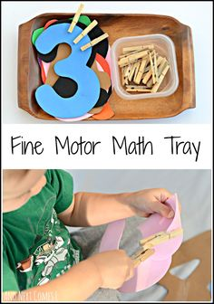Fine Motor Counting Math Tray {Fine Motor Fridays} Fine motor math and counting tray for toddlers and preschoolers from And Next Comes LFine motor math and counting tray for toddlers and preschoolers from And Next Comes L Toddler Learning, Preschool Learning, Kindergarten Math, Toddler Preschool, Learning Activities, Counting For Toddlers, Space Activities, Counting Activities, Numbers Preschool