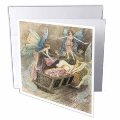 3dRose Book of Fairy Poetry Warwick Goble Fantasy Fairy Painting, Greeting Cards, 6 x 6 inches, set of 12