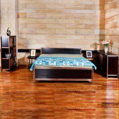 Bett-rahmen 180 x 200 aus recyceltem holz und metall   massivholz und metall Bettgestell   180 x 200 x 45   Möbel aus recycelten Materialien von trendsdeco auf Etsy