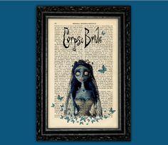 Corpse Bride Print - Tim Burton Movie Art Poster Butterflies Book Art Dorm Room  Wall Decor Poster Art