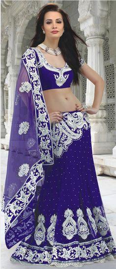 #Purple Net #Lehenga #Style #Saree with Blouse @ $218.75