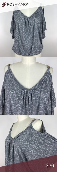 Ella Moss Cold Shoulder Top Ella Moss Cold Shoulder Top. Heather Grey marble color. Cut out shoulders with button accents. Draped neckline. Dolman sleeves. Elastic waistline. Loose fit. Lightweight.   Size: Medium  Condition: Pre-loved. Minimal signs of wear.   Fabric: 85% Rayon 15% Poly   Notes: Pre-Owned items may have been laundered  Additional measurements will be provided upon request  Measurements are approximate Ella Moss Tops