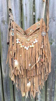 Handmade Light Brown Leather Cross Body Bag Hippie Fringe Boho Hobo Purse B Jay…