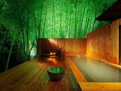 bathrooms - japanese, bathtub, tub, bamboo, wood, garden,  japanese style bathtub bamboo garden view