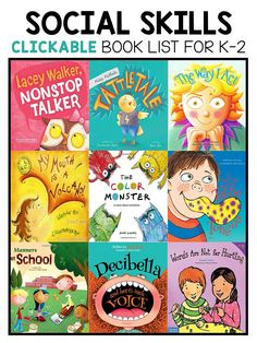 Best social skills picture books for kindergarten first and second grade. They are great for teaching about tattling voice volume Social Emotional Activities, Teaching Social Skills, Teaching Kids, Kindergarten Books, Preschool Books, Kids Reading, Reading Practice, Guided Reading, Read Aloud Books