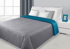 Sivo-tyrkysový prehoz Eva je dostupný v 4 rozmeroch: 70x150, 170x210, 220x240 alebo 230x260 cm.