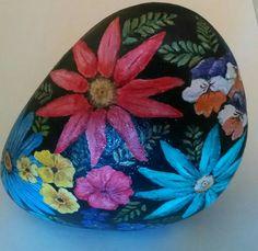 Flower Bouquet Painted Rock by CobbledArt Etsy Shop