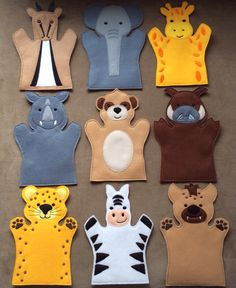 Safari Animals , Felt Puppets , Safari Puppet Play Set - Adult, Kid, AND Finger Puppet Sizes - Sold Individually or as a Set Felt Puppets, Puppets For Kids, Felt Finger Puppets, Toddler Crafts, Toddler Toys, Kids Toys, Crafts For Kids, Puppet Patterns, Felt Patterns