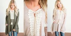 These Crochet peasant tops are so cute, with a super flattering fit! Only $22.99