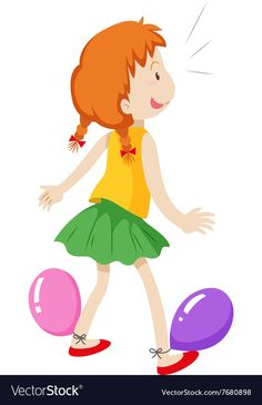 Girl playing with balloons vector image on VectorStock Single Image, Games For Kids, Adobe Illustrator, Vector Free, Balloons, Play, Disney Characters, Illustration, Children