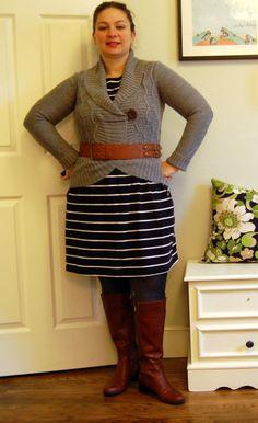 Target sweater, Target Belt, Lands End Canvas Dress